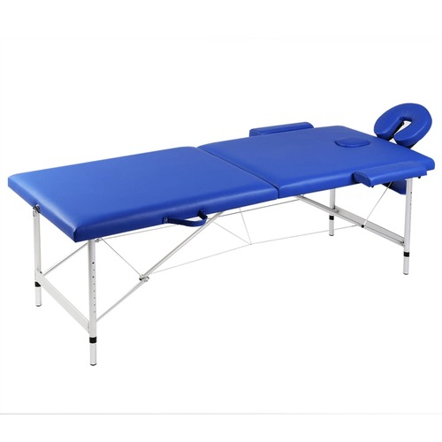 Blue Foldable Massage Table 2 Zones with Aluminium Frame