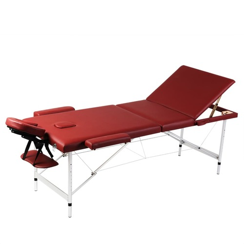 Red Foldable Massage Table 3 Zones with Aluminium Frame