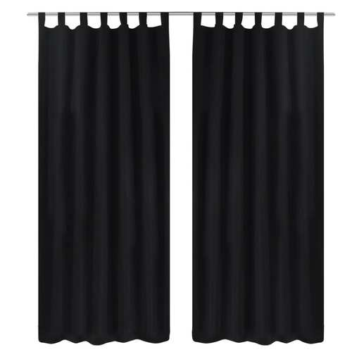 2 pcs Black Micro-Satin Curtains with Loops 140 x 175 cm