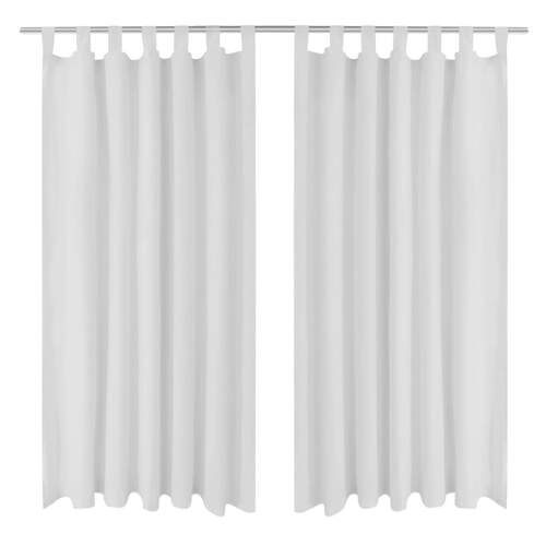 2 pcs White Micro-Satin Curtains with Loops 140 x 225 cm