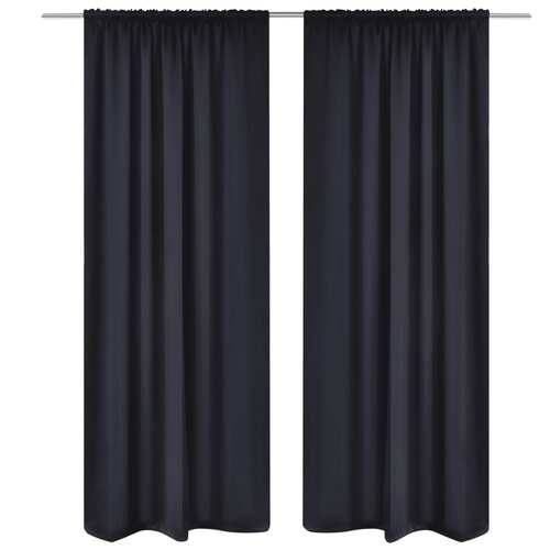 2 pcs Black Slot-Headed Blackout Curtains 135 x 245 cm