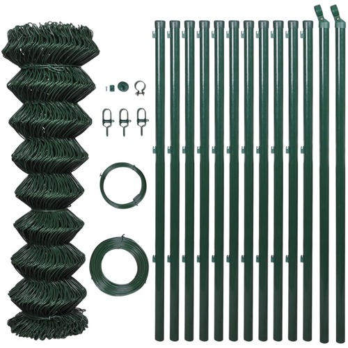 140358 Chain Link Fence with Posts Steel 1,25x25 m Green