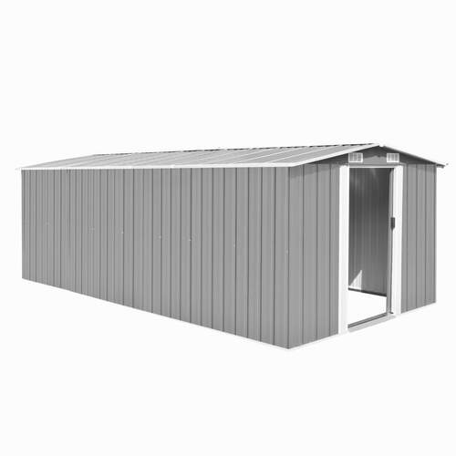 Garden Shed 257x489x181 cm Metal Grey