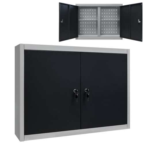 Wall Mounted Tool Cabinet Industrial Style Metal Grey and Black