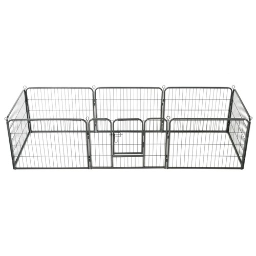 Dog Playpen 8 Panels Steel 80x60 cm Black