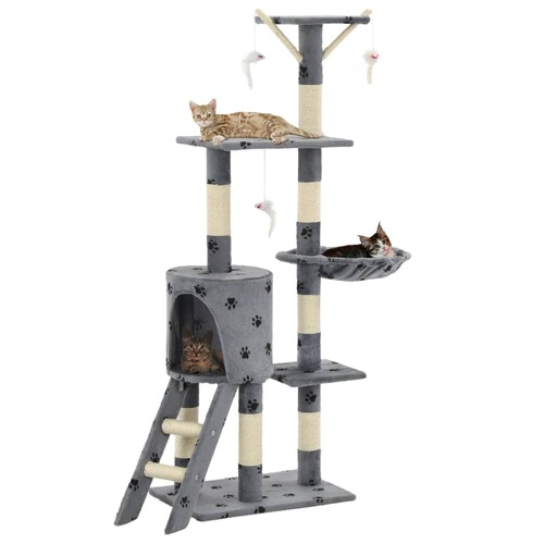 Cat Tree with Sisal Scratching Posts 138 cm Grey Paw Prints