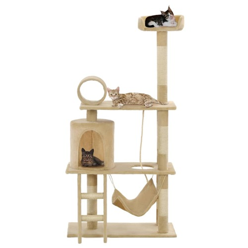 Cat Tree with Sisal Scratching Posts 140 cm Beige