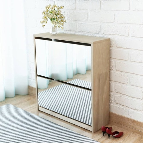 Shoe Cabinet 2-Layer Mirror Oak 63x17x67 cm