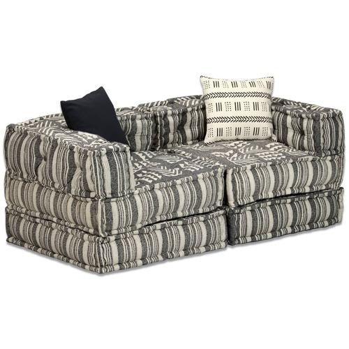 2-Seater Modular Pouffe Grey Stripe Fabric