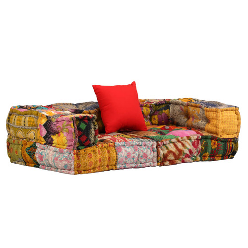 2-Seater Modular Pouffe Patchwork Fabric