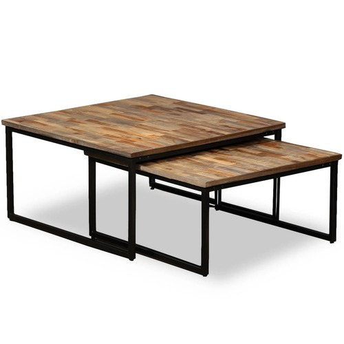 2 Piece Nesting Coffee Table Set Solid Reclaimed Teak