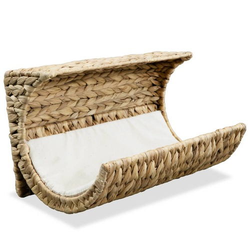 Cat Bed with Cushion Water Hyacinth 37x20x20 cm