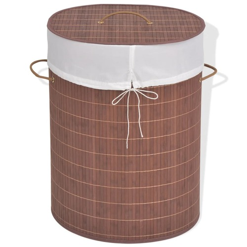 Bamboo Laundry Bin Oval Brown