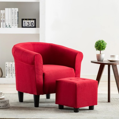 2 Piece Armchair and Stool Set Wine Red Fabric