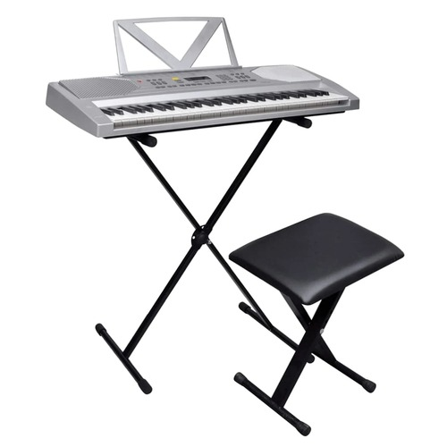 61-Key Electric Keyboard + Adjustable Keyboard Stand and Stool Set