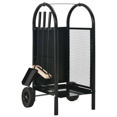 Firewood Cart Black 30x35x81 cm Steel