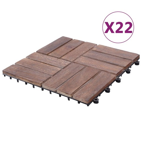 Decking Tiles 22 pcs 30x30 cm Solid Reclaimed Wood