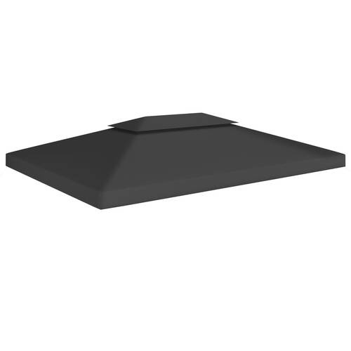 2-Tier Gazebo Top Cover 310 g/m² 4x3 m Black