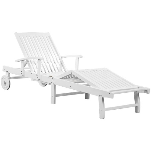 Sun Lounger with Wheels Solid Acacia Wood White