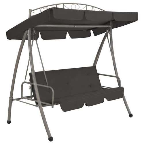 45074 Outdoor Convertible Swing Bench with Canopy Anthracite 198x120x205 cm Steel