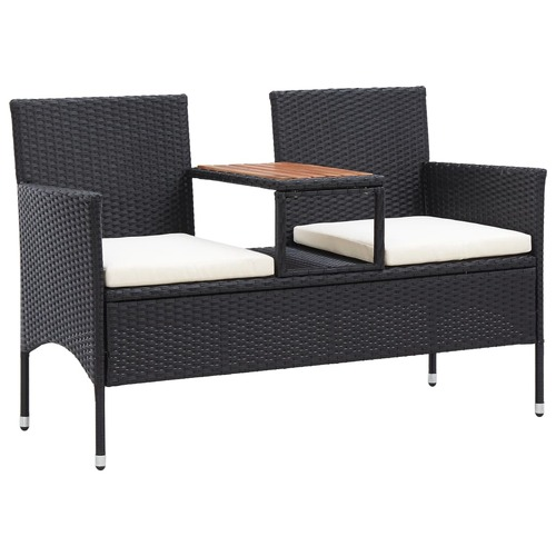 2-Seater Garden Bench with Tea Table 143 cm Poly Rattan Black