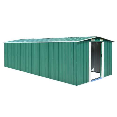 Garden Shed 257x597x178 cm Metal Green (AU only)