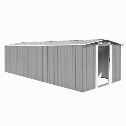 Garden Shed 257x580x181 cm Metal Grey
