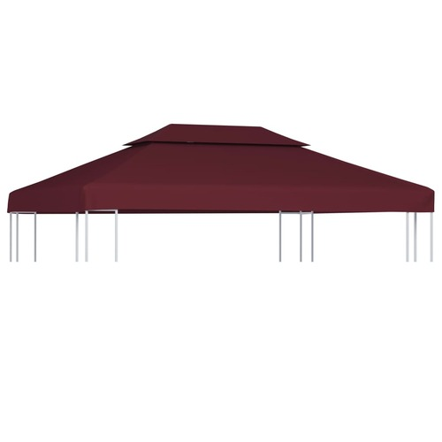 2-Tier Gazebo Top Cover 310 g/m? 4x3 m Bordeaux