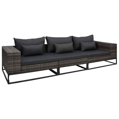 3 Piece Garden Sofa Set with Cushions Poly Rattan Grey