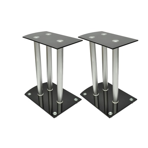 Aluminum Speaker Stands Black Glass 2pcs