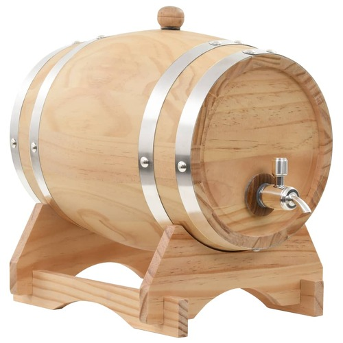 Wine Barrel with Tap Solid Pinewood 6 L