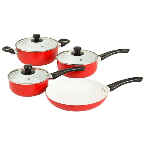7 Piece Cookware Set Red Aluminium