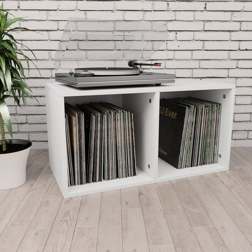 Vinyl Storage Box White 71x34x36 cm Chipboard