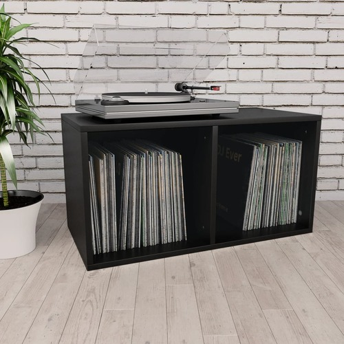 Vinyl Storage Box Black 71x34x36 cm Chipboard