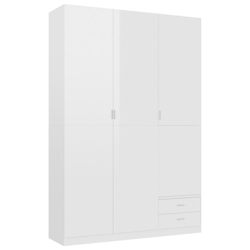 3-Door Wardrobe High Gloss White 120x50x180 cm Chipboard
