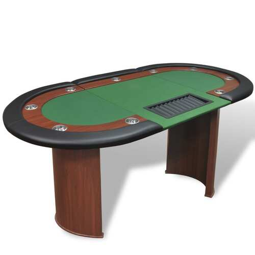 10-Player Poker Table with Dealer Area and Chip Tray Green
