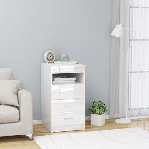 Drawer Cabinet High Gloss White 40x50x76 cm Chipboard
