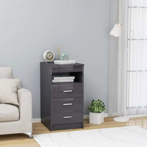 Drawer Cabinet Hign Gloss Grey 40x50x76 cm Chipboard