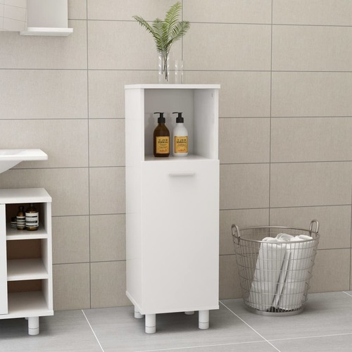 Bathroom Cabinet High Gloss White 30x30x95 cm Chipboard