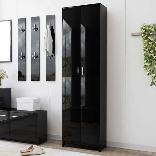 Hallway Wardrobe High Gloss Black 55x25x189 cm Chipboard
