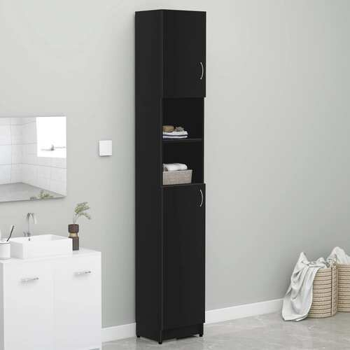 Bathroom Cabinet Black 32x25.5x190 cm Chipboard