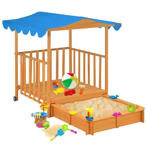 Kids Playhouse with Sandbox Fir Wood Blue UV50