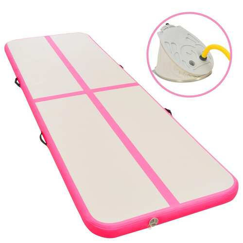 Inflatable Gymnastics Mat with Pump 500x100x10 cm PVC Pink
